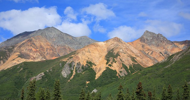 Colorful mountains near Sheep Creek Lodge, AK