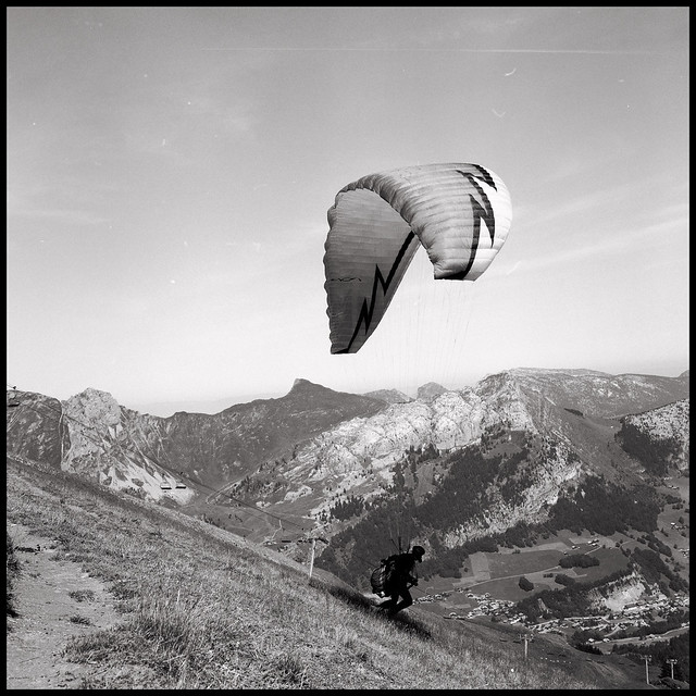 Paragliding - taking off