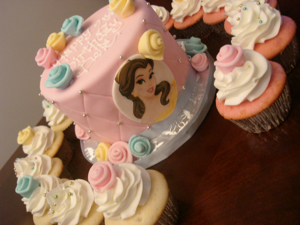 Peachy Disney Princess Belle Birthday Cake And Cupcakes See More Flickr Personalised Birthday Cards Paralily Jamesorg
