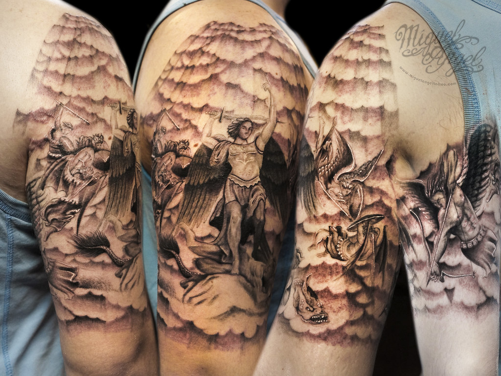 396720bfb2445 ... Michael Archangel battle and clouds and holy rays custom tattoo | by Miguel  Angel tattoo
