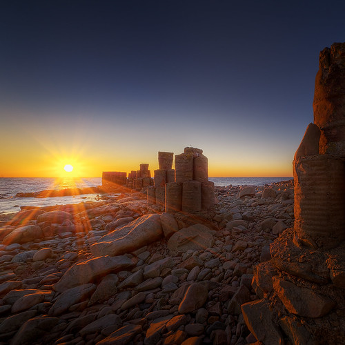 sunset seascape skåne rocks sweden pillars dagshög