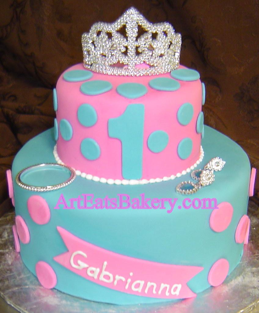 Superb Custom Unique Blue And Pink Fondant Polka Dot Girls Princess 1St Birthday Cards Printable Benkemecafe Filternl