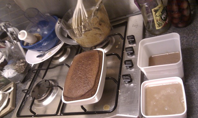 Sticky toffee pudding for tomorrow's pudding club. Two toffee sauces for assembly.