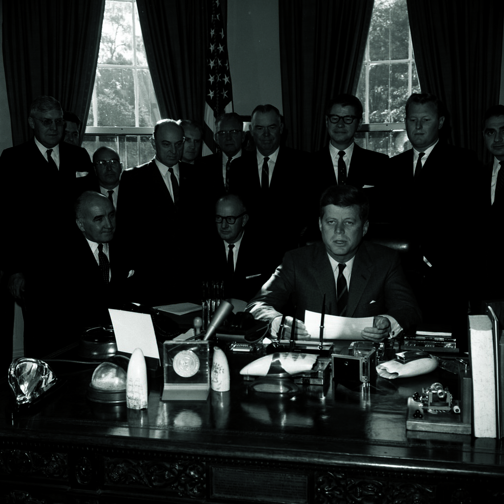 President John F. Kennedy Signing The Foreign Aid Bill