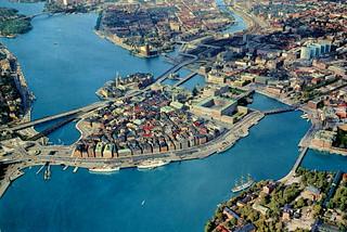Stockholm - Gamla Stan and Slussen from Air (Postcard)