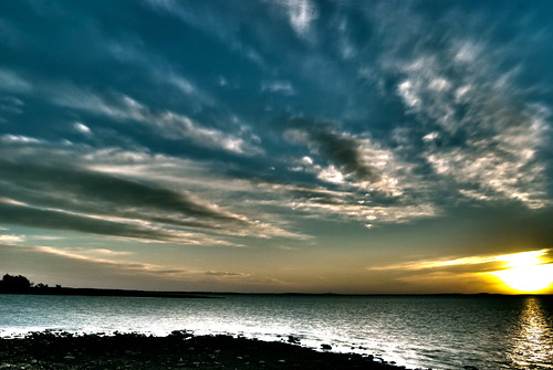 sky cloud sun lake nature clouds sunrise ray texas different ominous josh roberts rise denton hdr strangely sanger