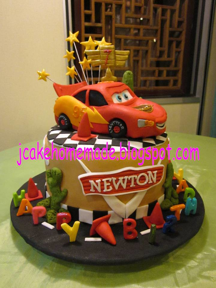 Magnificent Lightning Mcqueen Birthday Cake Happy 7Th Birthday Newton Flickr Personalised Birthday Cards Cominlily Jamesorg