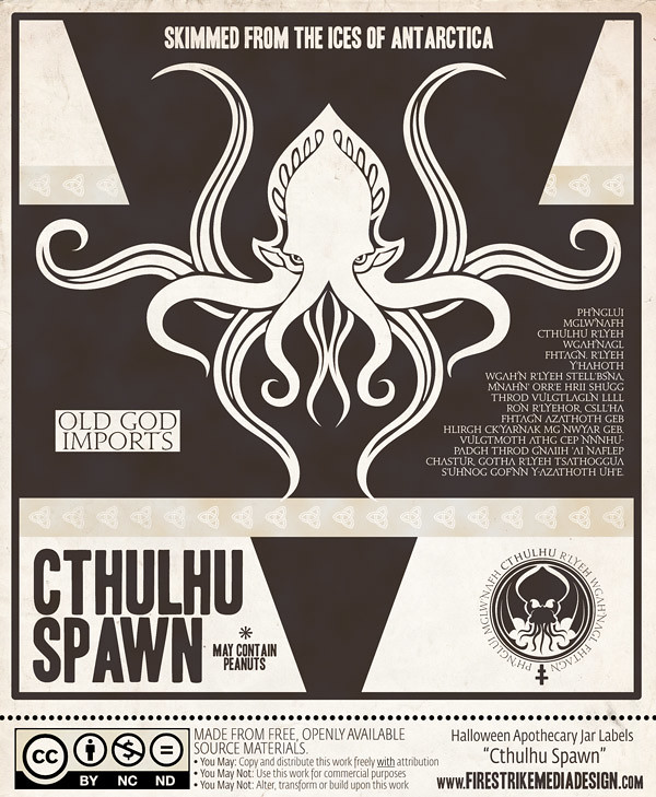 photograph relating to Free Printable Apothecary Jar Labels called Cthulhu Spawn\