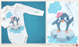 Body Mireia | Pingu  // Mireia | Penguin baby bodysuit | by Beatriz Rojas de la Rosa [illustration]