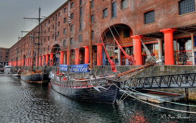 Three Tall Ships At Albert Docks Liverpool