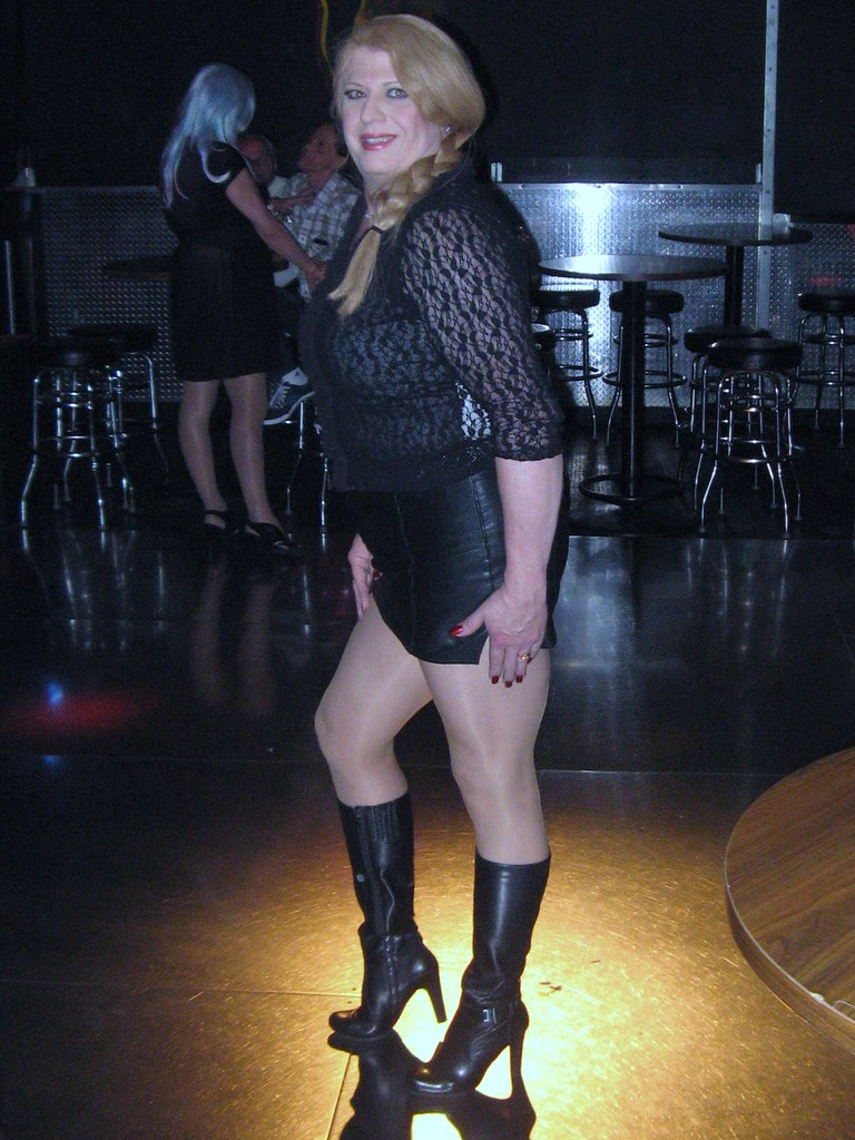 4ba04f83a5 ... New Black Leather Knee High Boots and Leather Mini Skirt with Lace Top  | by Suzane