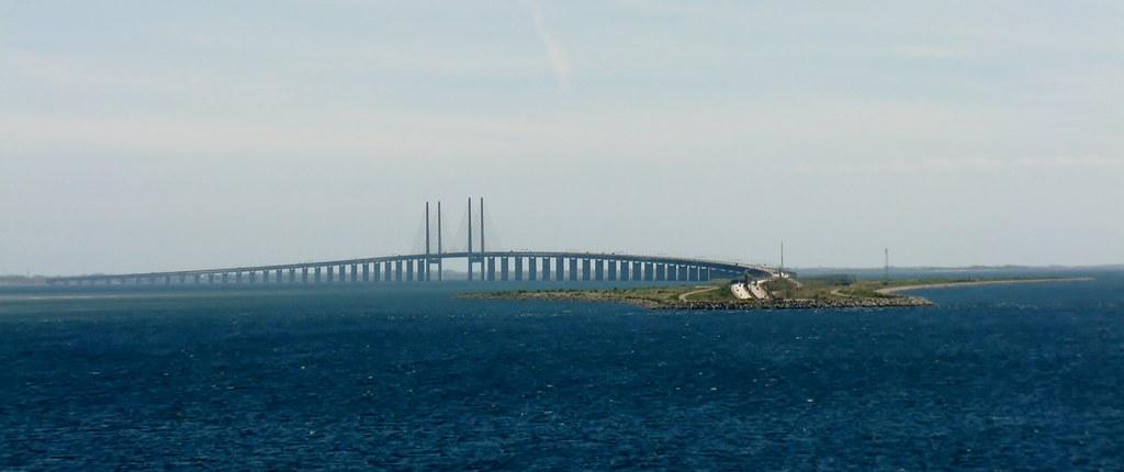 Peberholm -  a man made island, the Oresund (Øresund) Bridge and underwater Drogden Tunnel