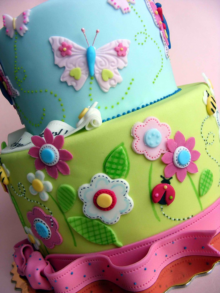 Flowers and butterflies cake