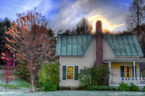 autumn house architecture sunrise vermont frost bluesky fallfoliage hdr topaz mapletrees pomfret chillymornings