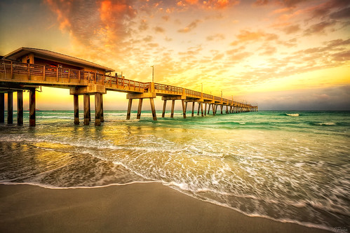 sunset beach pier florida lauderdale hdr dania