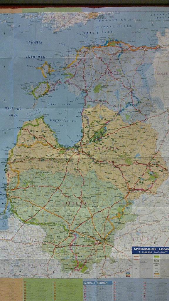 The three Baltic States | Map of bicycling routes in the thr ...