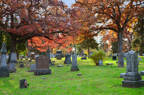 Fall scene in Forest Hills Cemetary, Madison, WI, October, 2011 | by Richard Hurd
