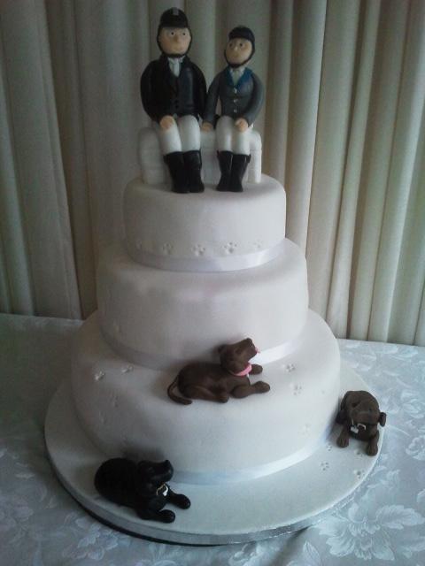 Horse rider themed wedding cake