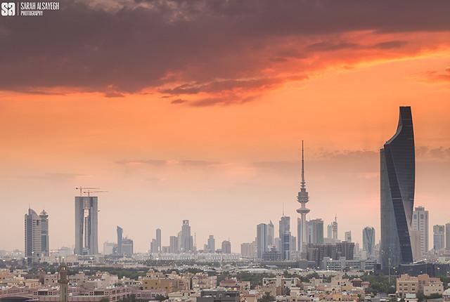 Kuwait City - Dark Red Sunset Skyline