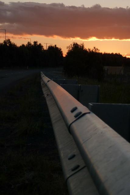 Sunset & Road Barrier