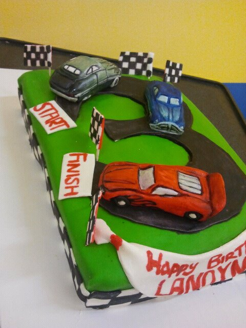 Pleasant Race Car Birthday Cake Hand Made And Painted Fondant Cars Flickr Funny Birthday Cards Online Elaedamsfinfo
