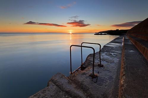 old morning ireland sea irish lighthouse seascape black castle sunrise canon dawn pier town angle wide sigma 7d wicklow 1020