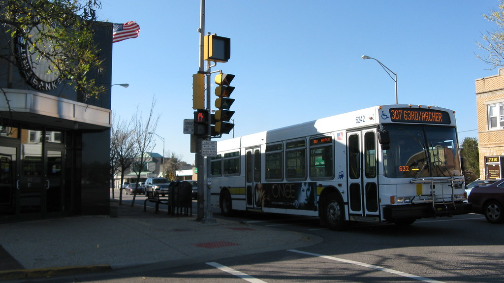 Eastbound Pace Rt # 307 bus at Grand and 73rd Avenues  Elm