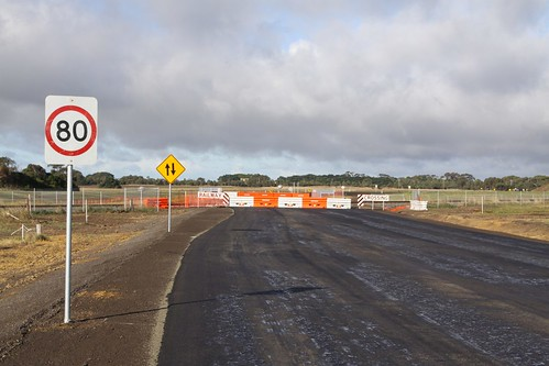 Temporary level crossing at Anglesea Road, still to be opened
