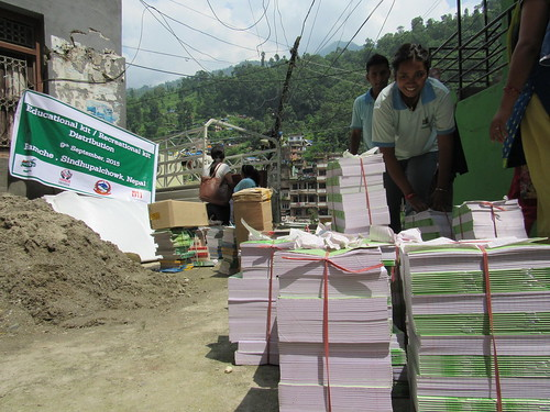 unloading notebooks for distribution to schools