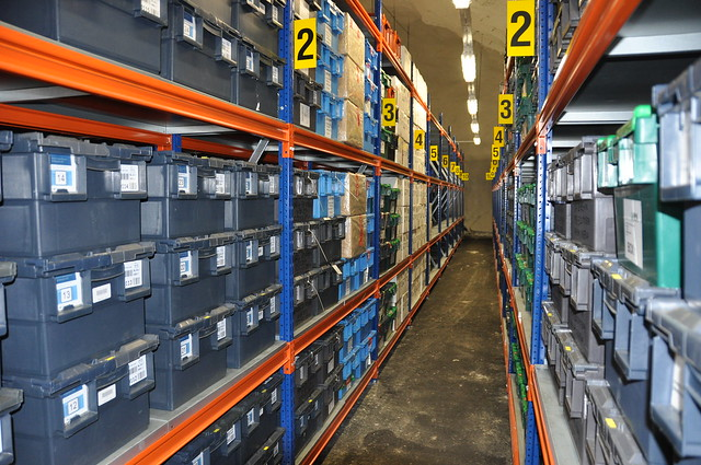 Seed boxes from many gene banks and many countries stored side by side on the shelves in the Seed Vault