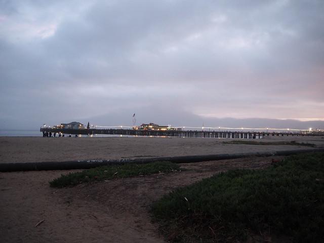 PC114067 Santa Barbara wharf cloudy sky Parade of Lights evening