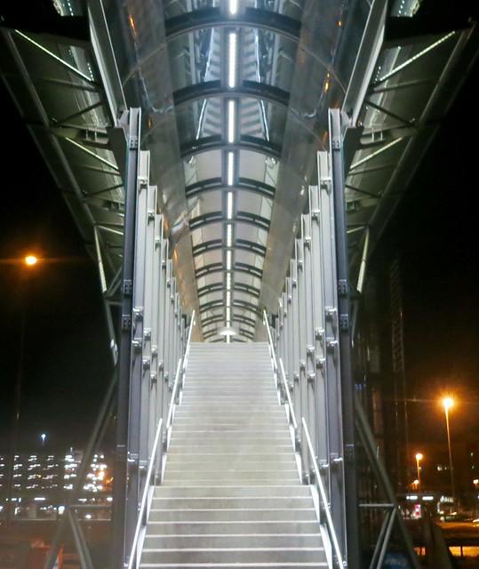 Munich after sunset: modern staircase.