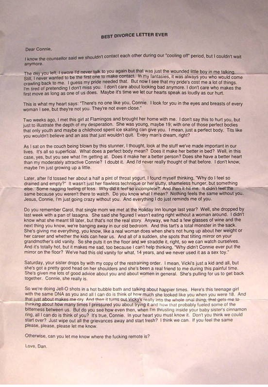 best divorce letter ever | Dear Connie, I know the counselor… | Flickr