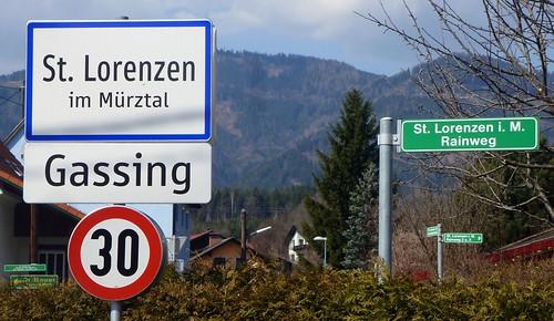 Ortstafel St. Lorenzen im Mürztal