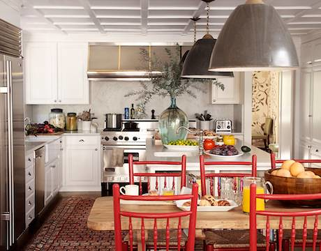 White kitchen + red chairs: Benjamin Moore 'Moroccan Red'