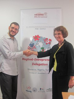 Special Representative Hariton Shakes Hands With Algerian Tech Town Winner Benali