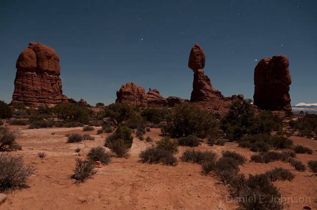 Lunar Lighting of Balanced Rock