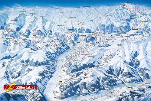 Zillertal - mapa sjezdovek