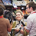 The Guardian blog team recording in the bookshop   The blog team from the Guardian interview our book-buying customers the Guardian Books Blog