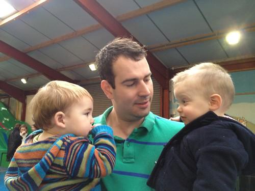 Matt holding Alex and Henry
