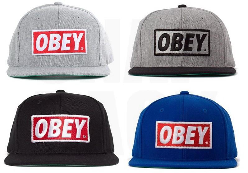 843a8b542fad4 ... OBEY Hats - Obey Original Snapback Cap - Heather Grey Black Blue-Red