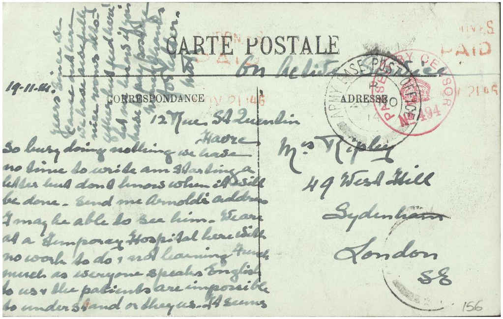 Postcard sent by Margaret Ripley to her mother in England, 19 November 1914