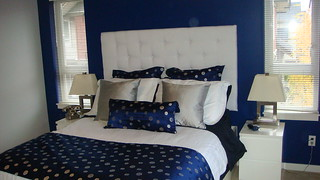 Navy Blue Silver White Bedroom With White Padded Headbo Flickr