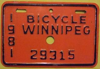 WINNIPEG MANITOBA 1981 ---BICYCLE LICENSE PLATE
