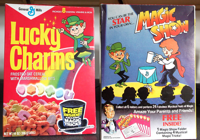 1987 General Mills Lucky Charms Cereal Box Magic Tricks