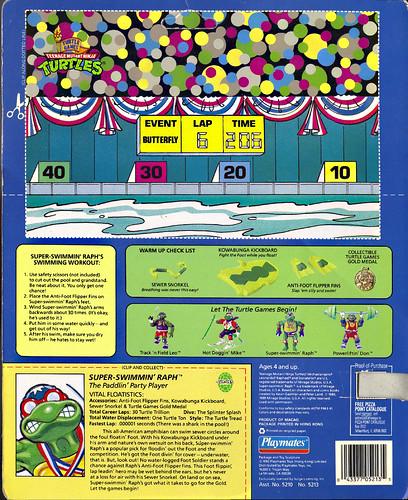 """TURTLE GAMES"" TEENAGE MUTANT NINJA TURTLES :: SUPER-SWIMMIN' RAPH .. card backer ii (( 1992 )) by tOkKa"