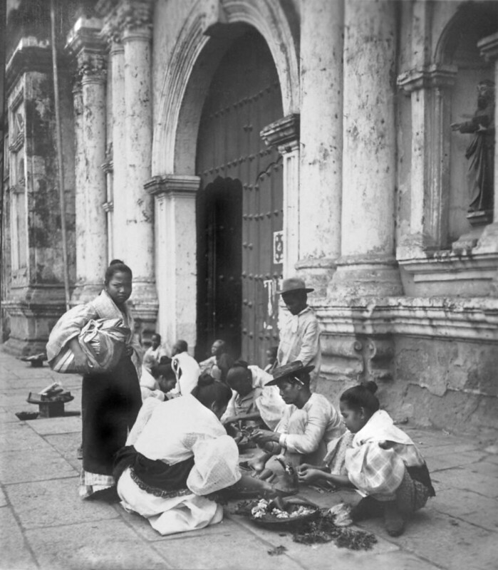 Filipino Flower Sellers by the Binondo Church, Manila, Philippines, early 20th Century