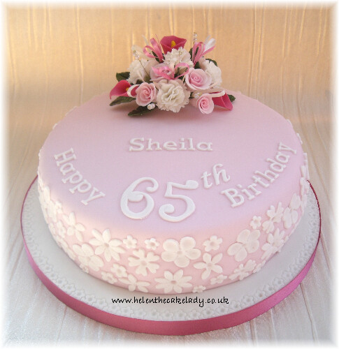 Fabulous Pink Lace 65Th Birthday Cake Helen Flickr Funny Birthday Cards Online Elaedamsfinfo