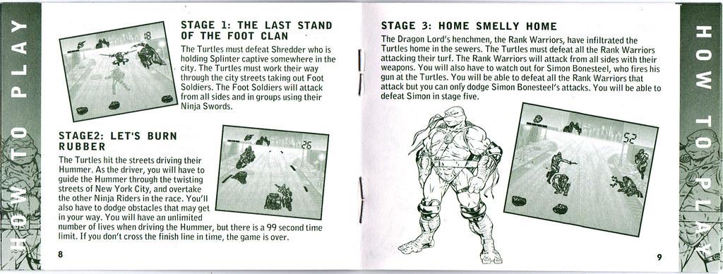 "TIGER ELECTRONICS :: ""NINJA TURTLES: THE NEXT MUTATION"" ELECTRONIC LCD GAME ..INSTRUCTION MANUAL  pgs. 8,9  (( 1998 )) by tOkKa"