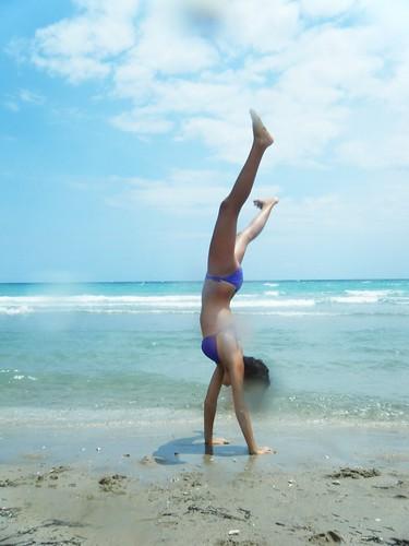 beach water girl skinny sand waves bikini flip teenager handstand thin